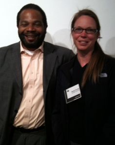 Speaker Howard Lowe and Pro Arts Gallery Executive Director Margo Dunlap