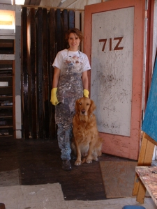 Jenny and Trout in West Oakland art studio.
