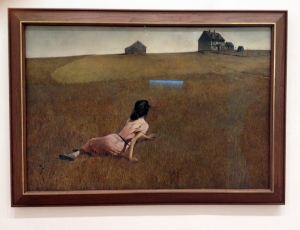 Christina's World by Andrew Wyeth hidden near elevators with its glow.