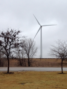 A wind turbines holding hands with a tree.