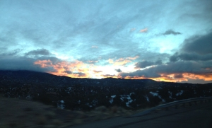 Leaving Santa Fe at sunrise.
