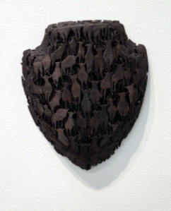 Lorna Stevens' Herd made out of charred wood.