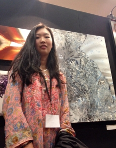 Qianhui De and artwork at Student Showcase exhibit at the de Young musuem, 2015.