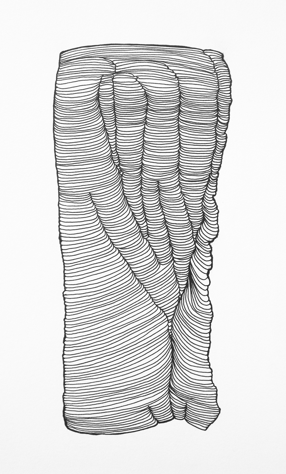 Knot, pen and ink drawing part of Hockaday Museum of Art exhibit.